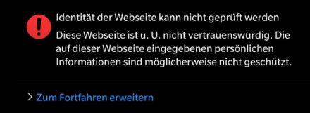 Identität der Webseite kann nicht geprüft werden